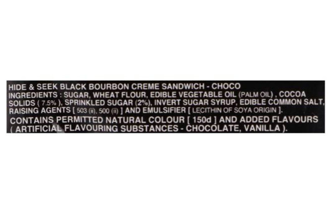 Parle Platina Hide & Seek Black Bourbon Choco Creme Sandwich   Pack  100 grams
