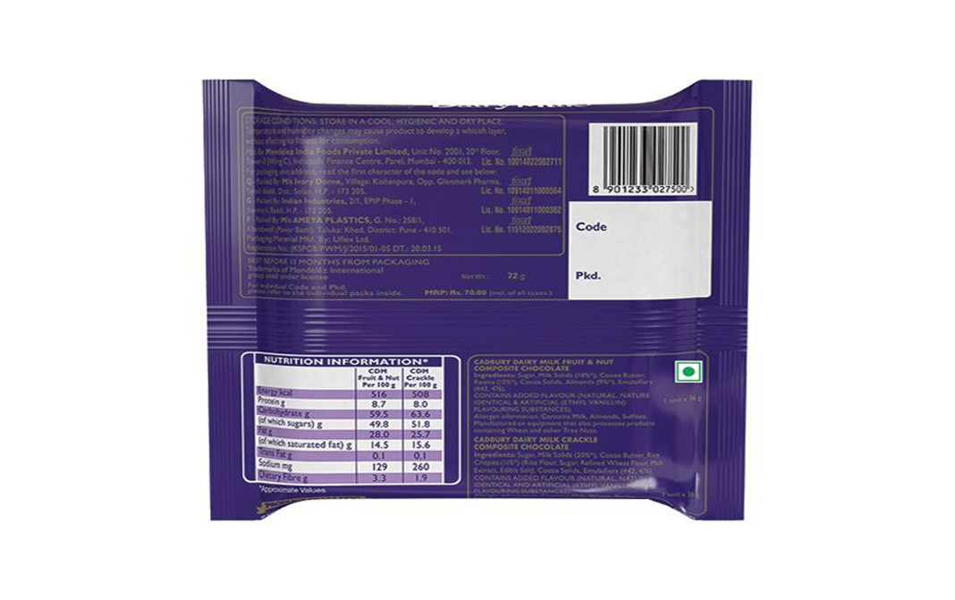 Cadbury Dairy Milk Flavours of Joy   Pack  72 grams
