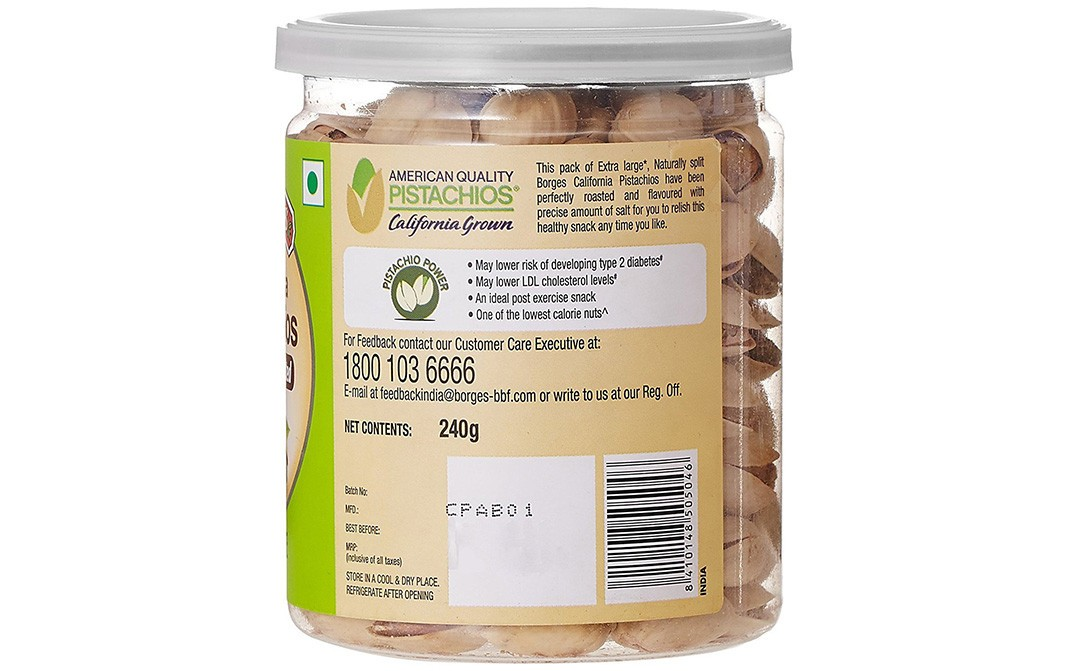 Borges California Pistachios Roasted & Salted   Plastic Jar  240 grams