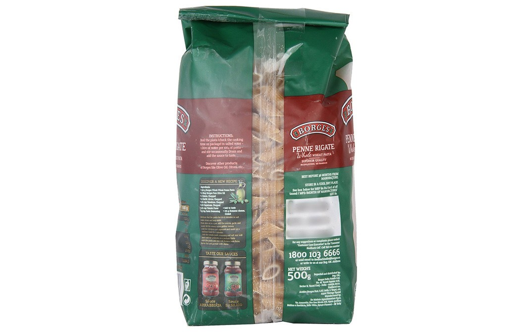 Borges Penne Rigate Whole Wheat Pasta   Pack  500 grams