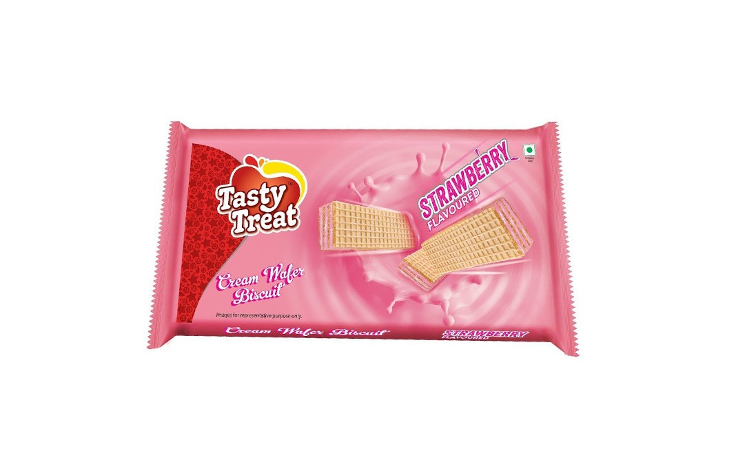Tasty Treat Cream Wafer Biscuit Strawberry Flavoured   Pack  75 grams