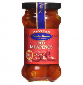 Mexican Santa Maria Red Jalapenos - Hot  Glass Jar  200 grams
