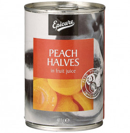 Epicure Peach Halves In Fruit Juice  Tin  411 grams