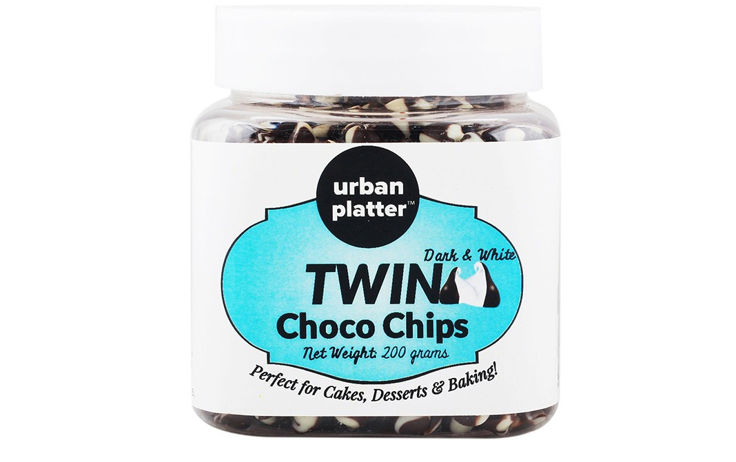 Urban Platter Dark & White Twin Choco Chips   Jar  200 grams