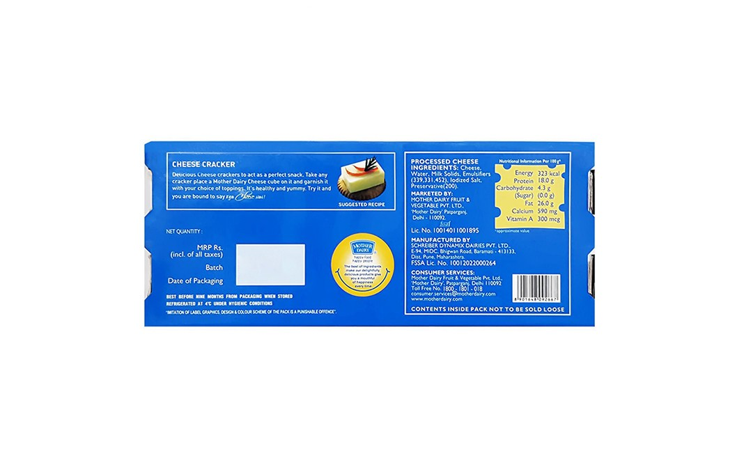 Mother Dairy Cheese Cubes    Box  180 grams