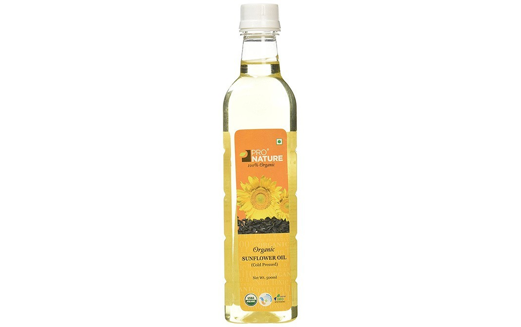 Pro Nature Organic Sunflower Oil (Cold Pressed)   Bottle  500 millilitre