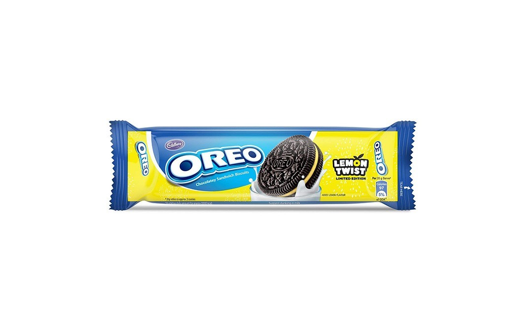 Cadbury Oreo Lemon Twist Chocolatey Sandwich Biscuits    Pack  120 grams