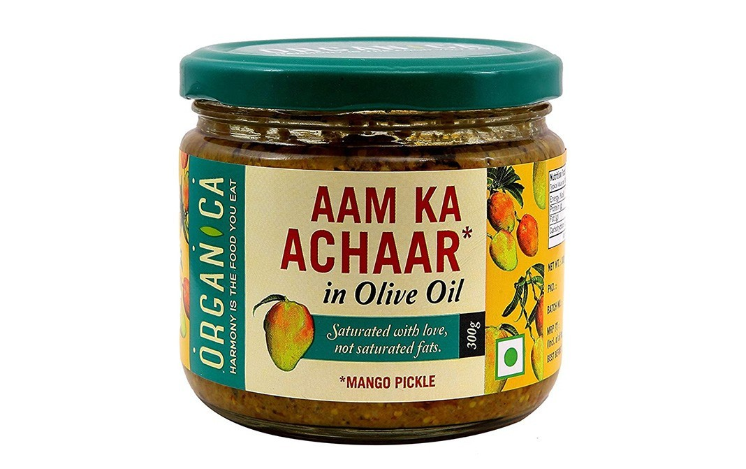 Organica Aam Ka Achaar in Olive Oil, Mango Pickle   Glass Jar  300 grams