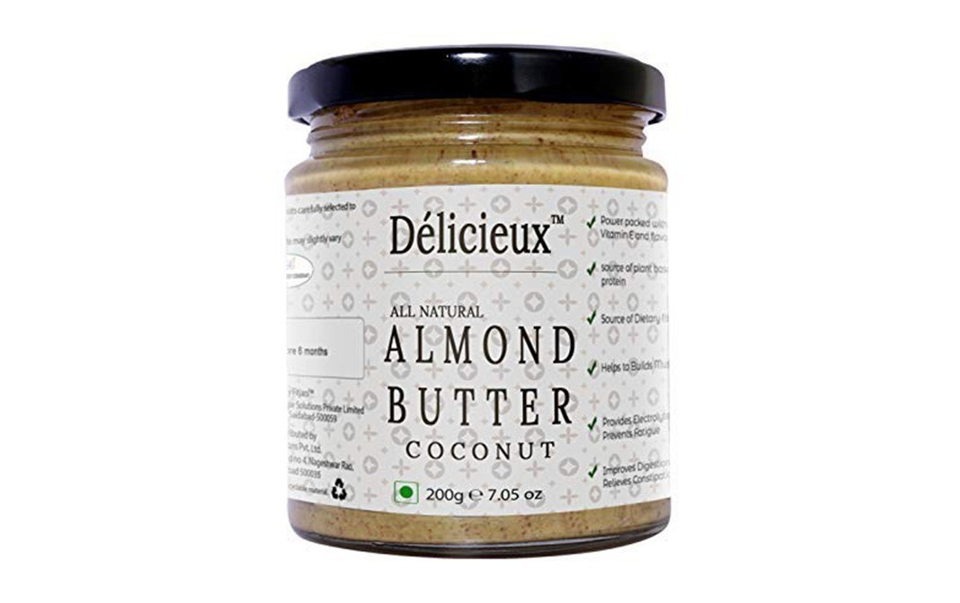 Delicieux All Natural Almond Butter, Coconut   Glass Jar  200 grams