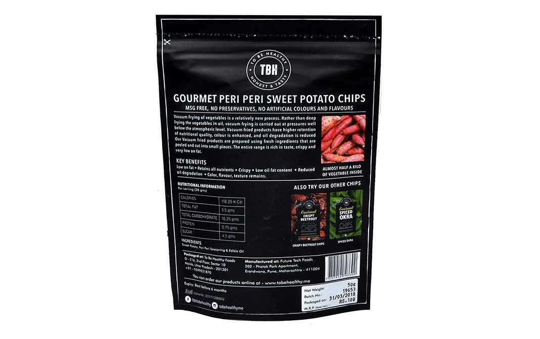 To Be Healthy Peri Peri Sweet Potato Chips   Pack  50 grams