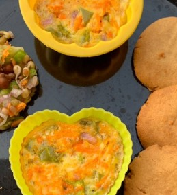 Egg muffin peanut butter cookies and brown chana sprout salad Recipe