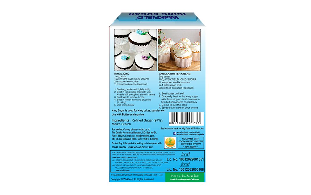 Weikfield Icing Sugar    Box  100 grams