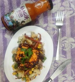Naagin Paneer Stake with Stir Fried Vegetables Recipe